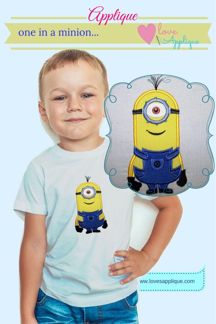 Minion Applique. Minion Embroidery Designs. Minion Party Ideas. Minion Outfit Ideas. Minion T Shirt, Minion Designs. www.lovesapplique.com