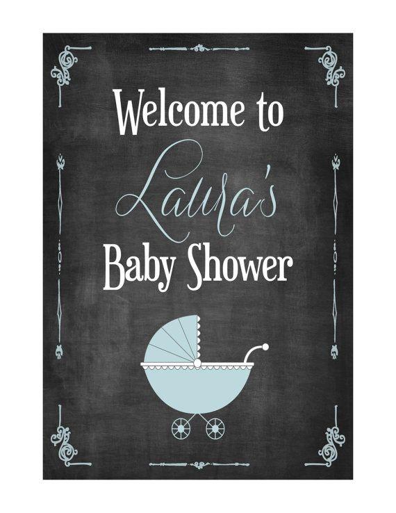 Chalkboard Baby Shower Sign Printable Blue, Pink or