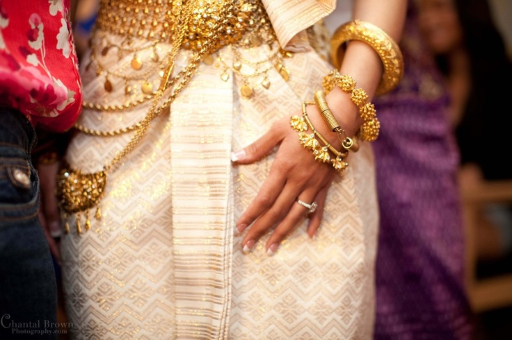 Cambodian wedding with white and gold traditional dress