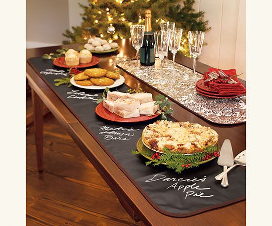 Chalkcloth Table Runner.  Label foods for buffet, could use under plates & write guest's names for place settings or use at a kid's table for kids to draw on.