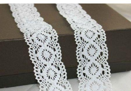 Cotton lace 45mm - White wide cotton crochet trim - Beautiful cotton lace 1 meter