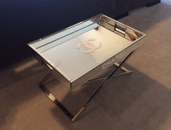 Chanel Large Mirrored Lacquer Tray Table White Replica