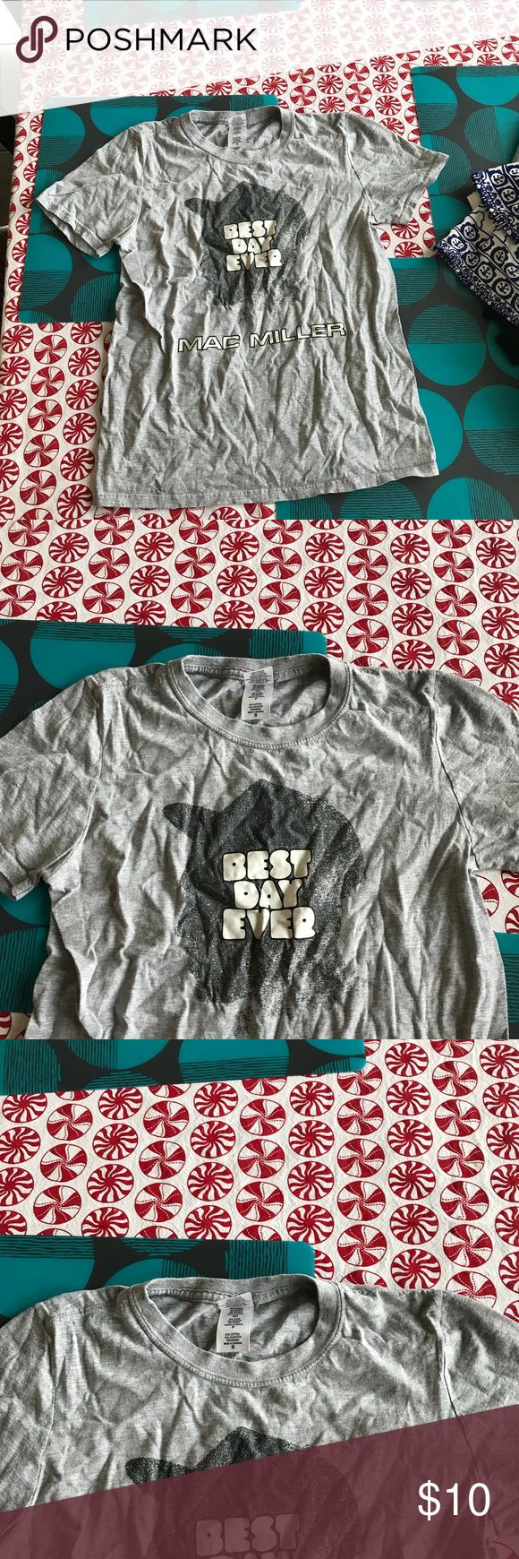 Mac Miller best day ever T-shirt Brand new unfortunately there are no tags. In great condition please ask all questions before purchasing. Just a regular cotton T-shirt with the MAC MILLER best day ever album design on the front Tops Tees - Short Sleeve