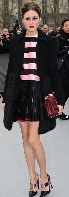 Olivia Palermo: Dress, shoes, and purse – Christian Dior    Coat – Felder Felder