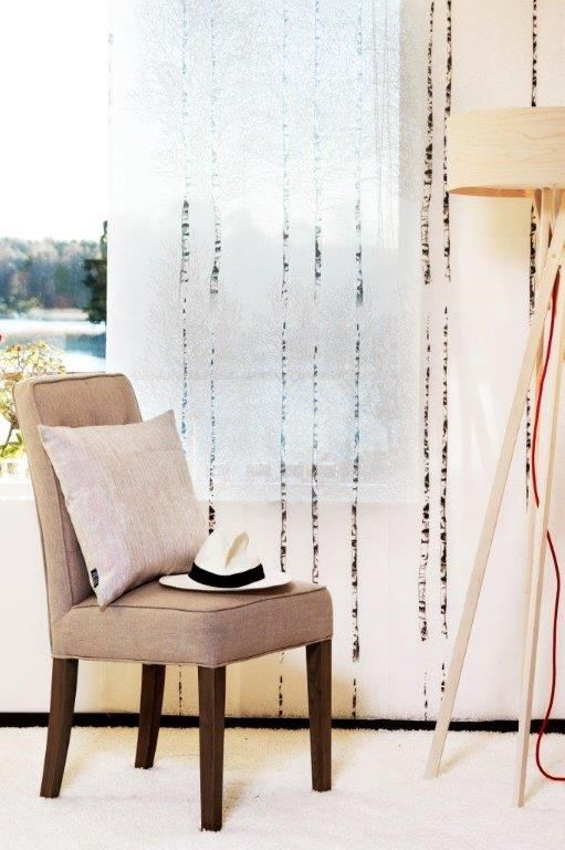 Koivikko Classic Fabric - A beautiful birch tree design in neutral beige on a stunning, slightly sheer fabric. Designed by Vallila Interiors in Helsinki and exclusive in NZ to Harvey Furnishings.