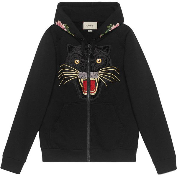 Gucci Embroidered hooded sweatshirt with Gucci logo (7,425 SAR) ❤ liked on Polyvore featuring tops, hoodies, black, patterned hoody, logo hoodie, sweatshirt hoodies, animal print top and animal print hoodie