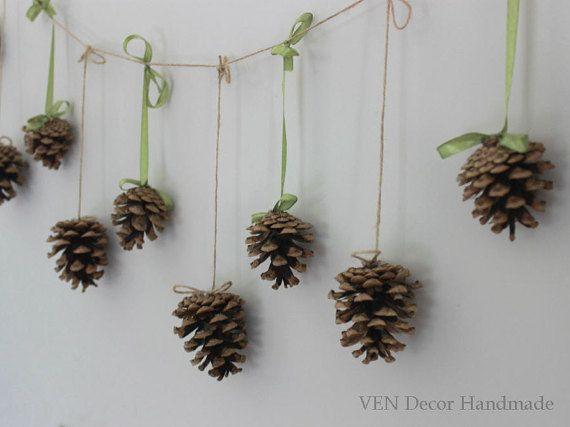 Natural Pine Cone Garland Autumn Fall Wedding by VENDecorHandmade
