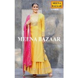 Yellow Chanderi Sharara Suit