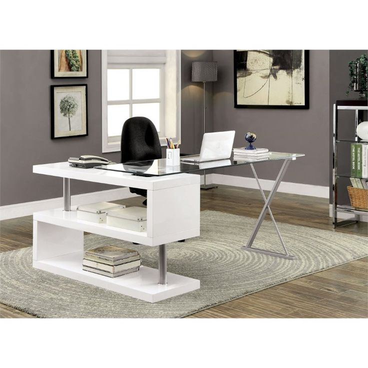 Lowest Price Online On All Furniture Of America Fiora Modern Swivel  Computer Desk In White