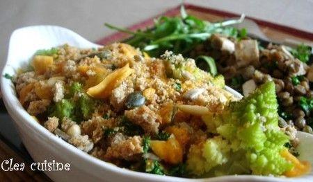 Salade de lentilles blondes au tofu fumé | Clea Cuisine