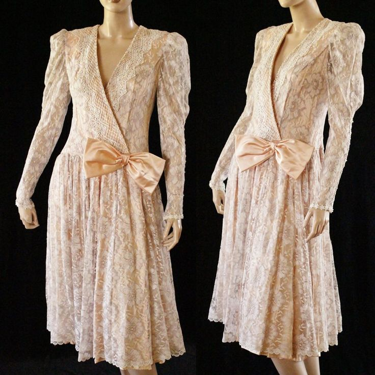 Vtg 80s does 20s Pastel Peach Sheer Floral Lace Drop Waist Flapper Style Dress   | eBay