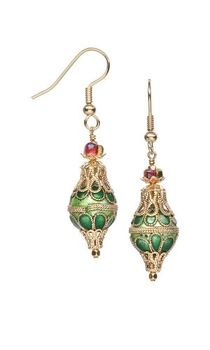 Earrings with Cloisonné Beads and Gold-Plated Bea…