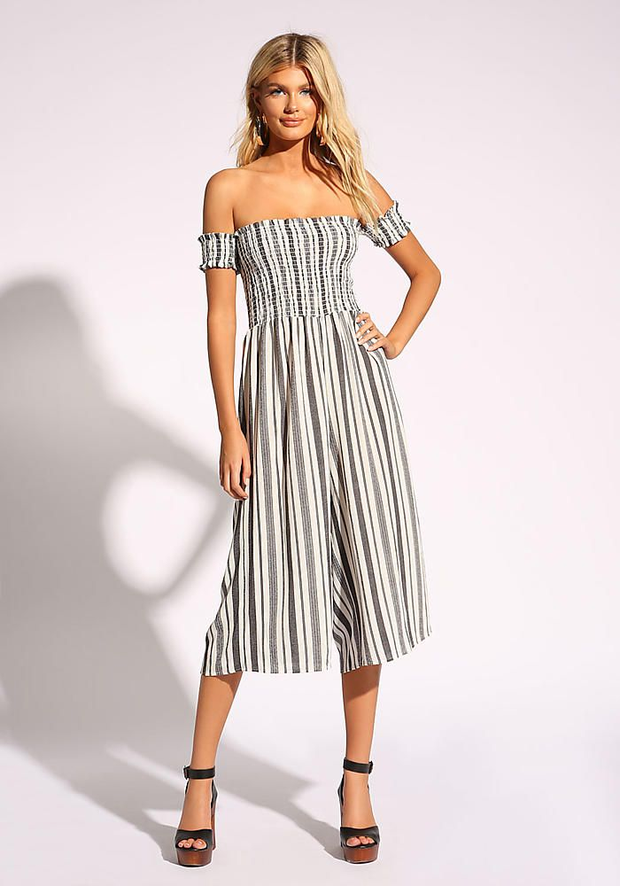 b67584a3c00f White and Black Stripe Palazzo Jumpsuit in 2018