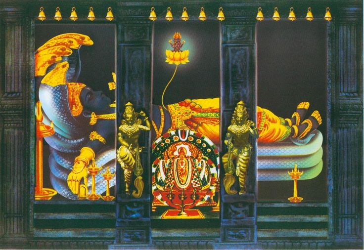 Lord Ananta Padmanabhaswamy, in Trivandrum  (Thiruvanathapuram) in Kerala. He is reclining on His servant, Lord Seshanaga, the great serpent Who is but an expansion of the Lord's energy, and incarnation of Lord Balarama, Lord Krishna's brother. Any time you see a reclining Vishnu, He is reclining on Lord Sesha. As in the temple, the small Deities are in the front, while the main Deity is in the back. While viewing the Deity at this temple, you pay your obeisances at all three doorways. The…