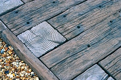 Railway sleepers used for garden decking - nice detail