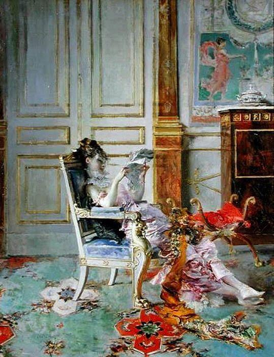 Girl Reading in a Saloon - Giovanni Boldoni