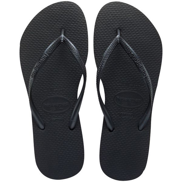 Women's Black Slim Flip Flop - Free Shipping at Havaianas (€23) ❤ liked on Polyvore featuring shoes, sandals, flip flops, wide width flip flops, kohl shoes, havaianas sandals, wide flip flops and wide fit shoes