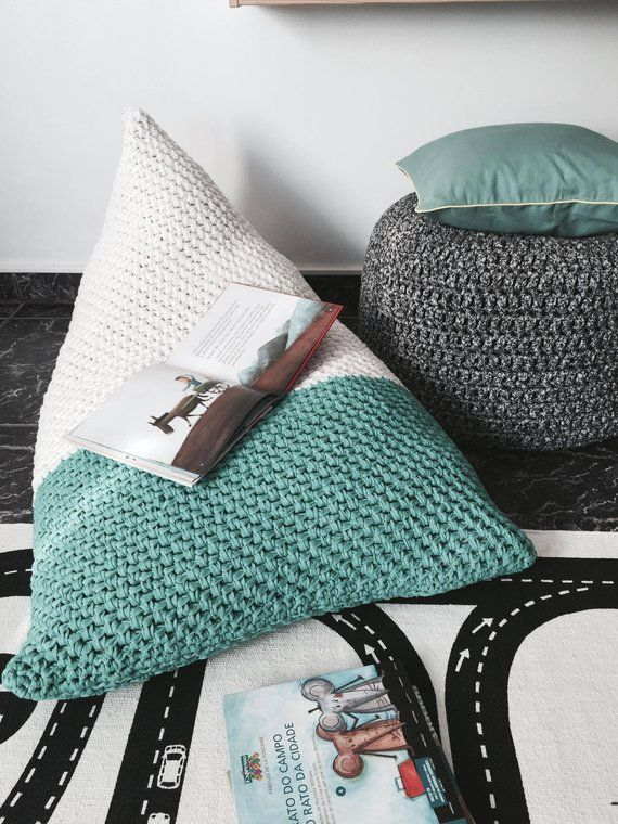 Kid Lounge Bean Bag Chair, Large Floor Pillow, Hand Knit Daybed
