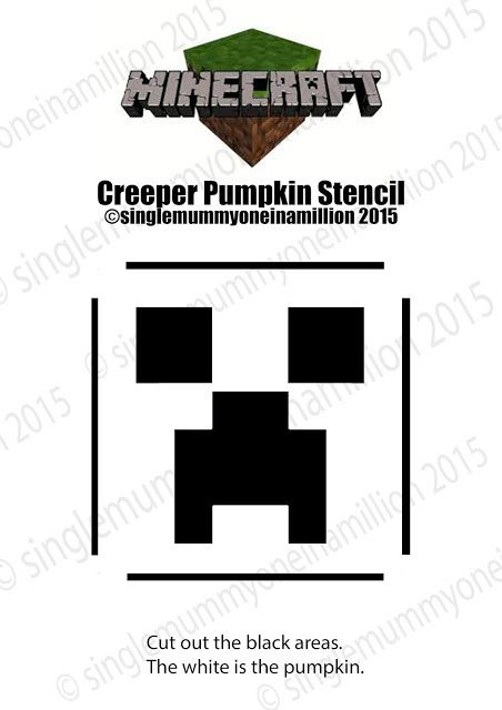 Minecraft Creeper free pumpkin stencil ©singlemummyoneinamillion 2015