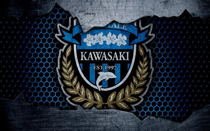 Download wallpapers Kawasaki Frontale, 4k, logo, art, J-League, soccer, football club, FC Kawasaki Frontale, metal texture