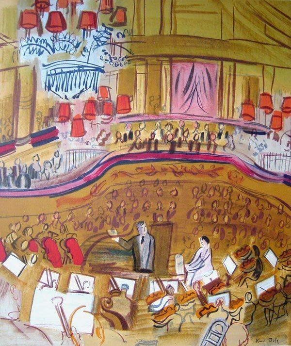 ORQUESTA   Raoul Dufy (Le Havre, 3 de junio de 1877 - cerca de Forcalquier, 23 de marzo de 1953) fue un pintor fauvista, artista gráfico y diseñador textil francés. Desarrolló un estilo colorido y decorativo que se hizo popular en diseños para cerámica, tejidos y esquemas decorativos de edificios públicos. Destaca por sus escenas de acontecimientos sociales al aire libre.