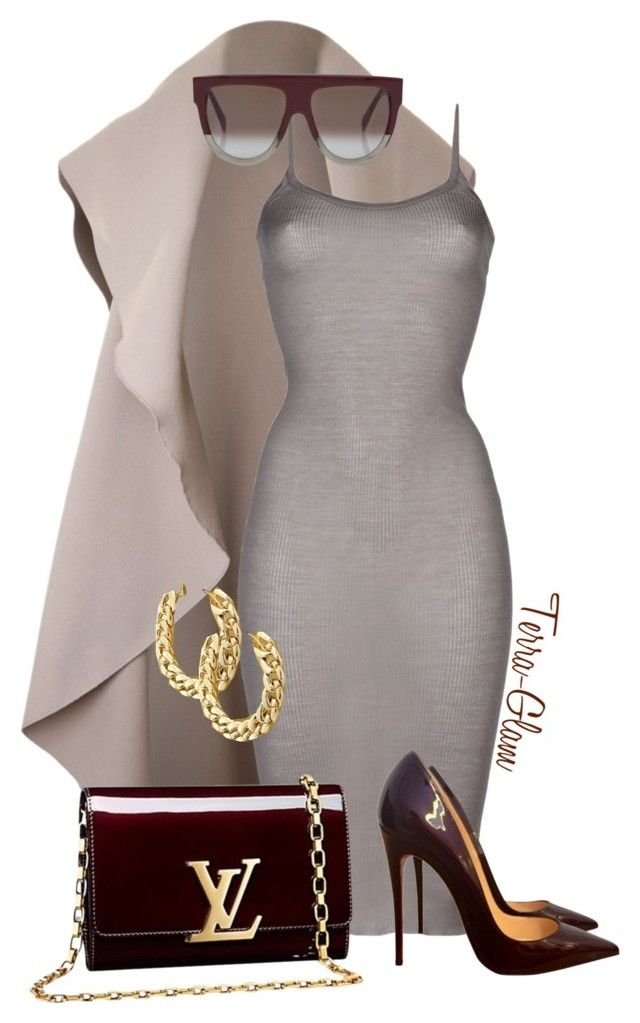 """""""She's Too Cool"""" by terra-glam ❤ liked on Polyvore featuring Rick Owens, Louis Vuitton, Christian Louboutin and CÉLINE"""