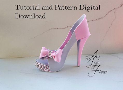 Instrucciones de zapato de Fondant azúcar zapato plantilla by ATasteofFinesse | Etsy