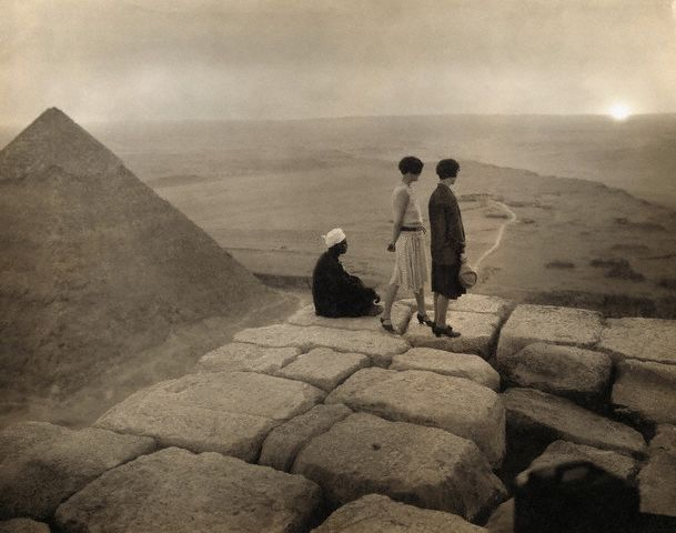 Tourists at the Great Pyramid, c.1920s