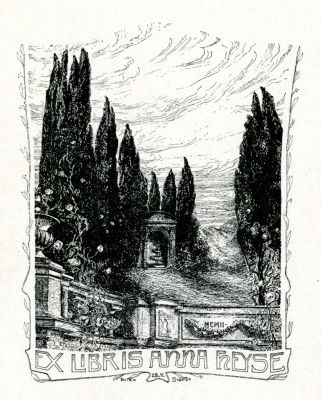 Bookplate by Botho Robert Schmidt for Anna Heyse, 1902