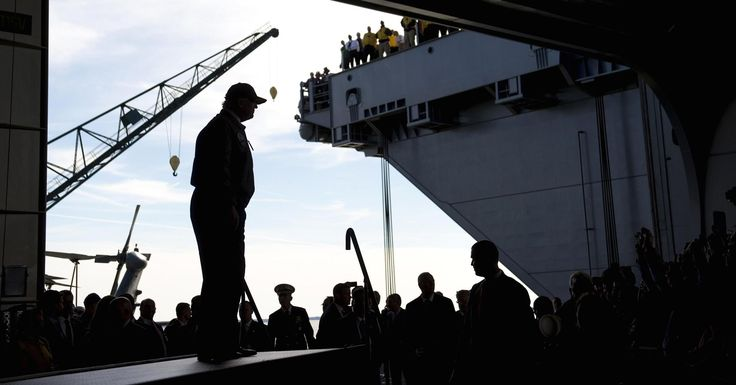 """Trump vowed that the newest generation of """"Ford Class"""" carriers will remain the centerpiece of projecting American power abroad."""