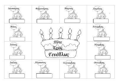 ...Το Νηπιαγωγείο μ' αρέσει πιο πολύ.: Ασπρόμαυρος πίνακας γενεθλίων
