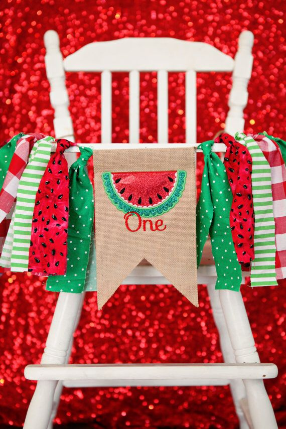 WATERMELON summer highchair birthday party banner green and red first birthday…