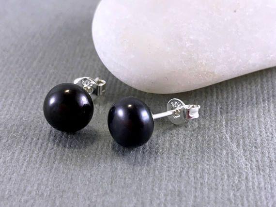 Pearl Stud Earrings Black Pearl Earrings Sterling Silver