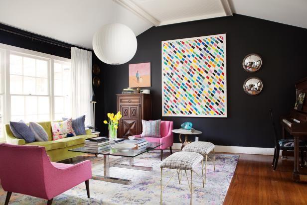 Bursts of Color in Chic, Black Living Room | HGTV >> http://www.hgtv.com/design-blog/design/meet-hgtv-faces-of-design-editors--pick-winners?soc=pinterest