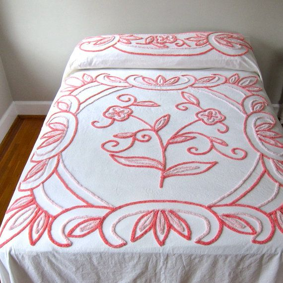 Vintage Chenille Bedspread in Pink and by BarkingSandsVintage, $185.00