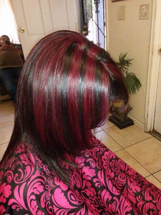 Red Violet Highlights with Dark Brown Base.