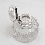 Large Antique Silver Lid & Collared Hobnail Glass Dressing Table Jar.  The chunky hobnail circular glass body has a raised diamond and star pattern and has a large cut glass star shape to the underside of the base.  It has a large domed silver hinged lid which sits on a silver collar.  It has clear hallmarks http://www.silver2treasure.com/silver-dressing-table-jar/