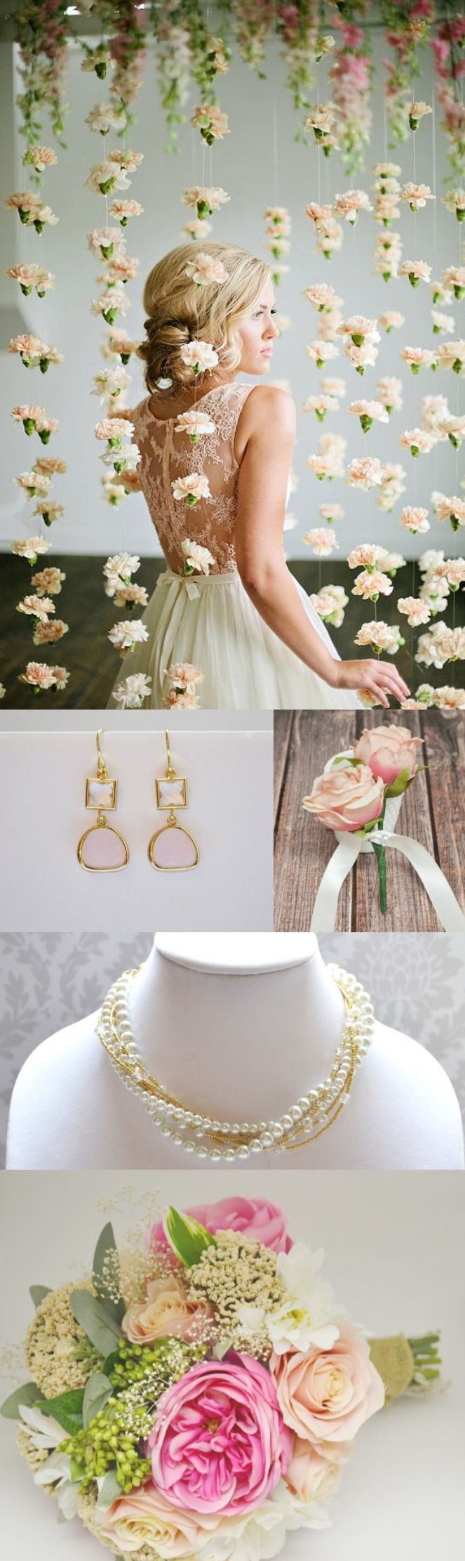 Shabby Chic Wedding, flower garland, pearls, roses, pink, gold, roses, bouquet. Beautiful flowers found at Blue Orchid on Etsy and jewelry by Joy Katharine on Etsy: https://www.etsy.com/listing/205596602/pearl-and-rhinestone-necklace-in-gold?ref=shop_home_active_24&ga_search_query=gold