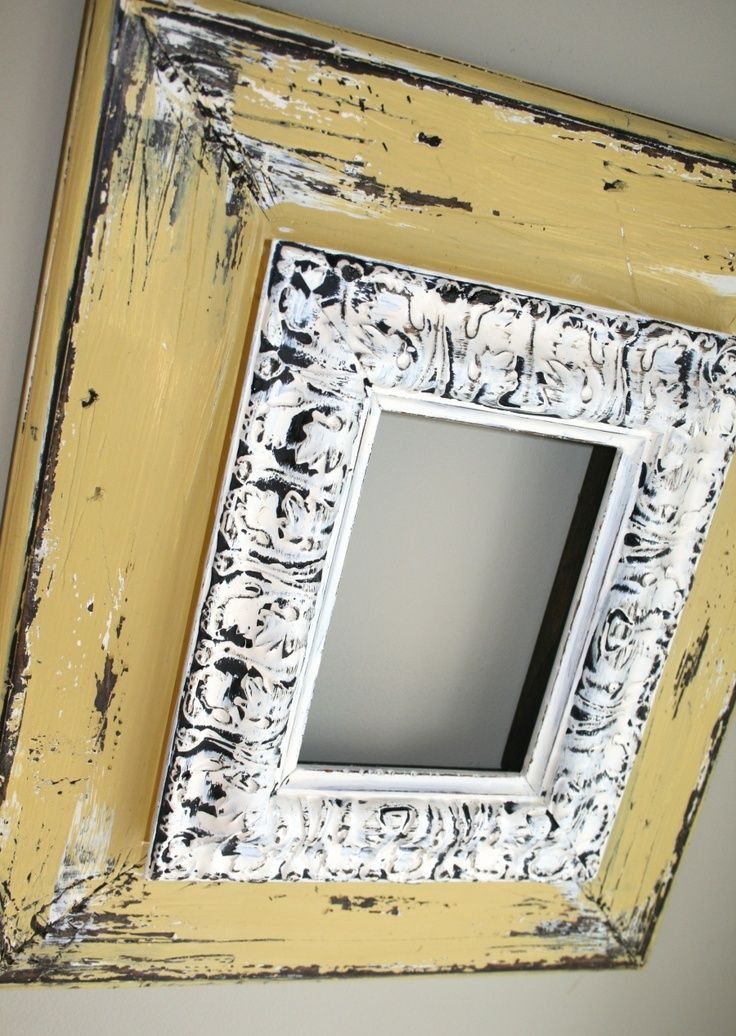 Repurposed Frames and Mirrors - plain, inexpensive frames are stacked and glued together, then painted and distressed, giving them a completely different look - Renewed Projects