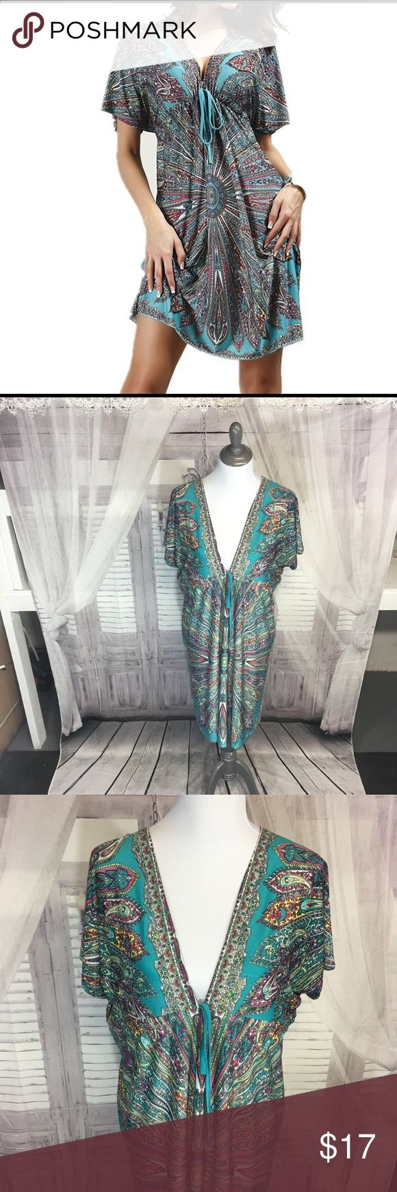 Swim suit cover up Brand new -Ladies tunic dress style swimsuit cover up.  Beautiful colors. Chiffon loose and light weight material.  One size fits small, medium and large. *Listing is for swimsuit cover up only but accessories can be found in shop. Swim Coverups