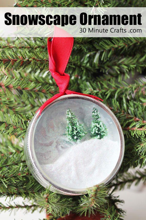 easy snowscape ornament