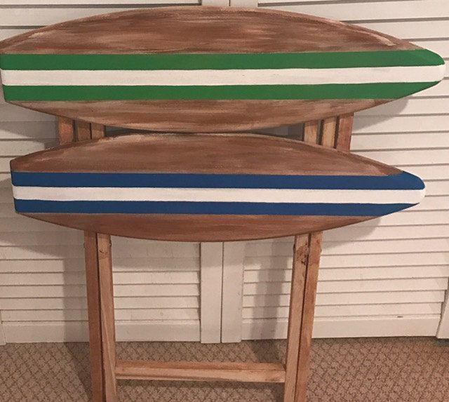 wood surf surfboard tropical beach themed decorative coffee snack folding table by SurfboardBeachArt on Etsy