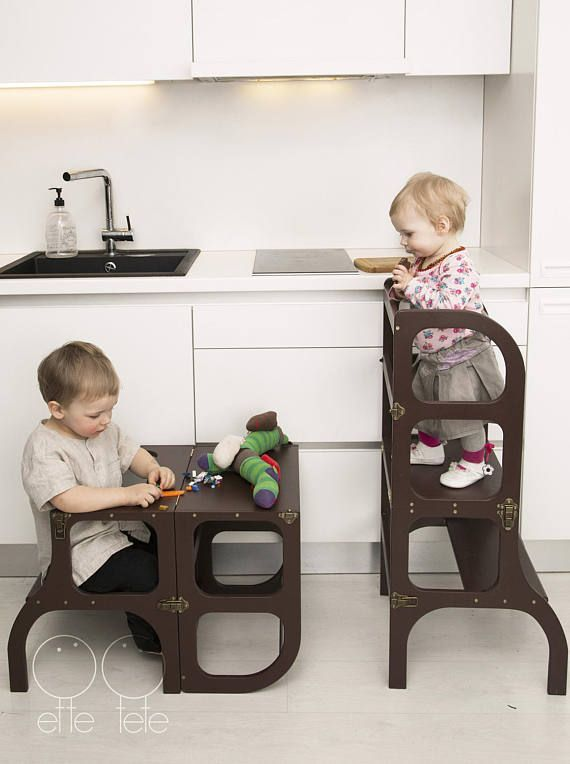 Little helper tower / table / chair all-in-one, Montessori learning stool, kitchen step stool