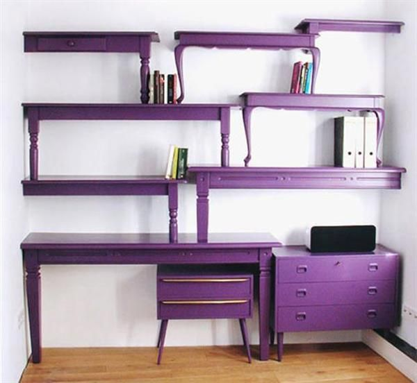 A day of going to yard sales should produce an abundant selection of super cheap,  rough looking, old, hideous coffee tables, end tables and dressers. The selection could be repurposed into an media center, or work station as shown. Neat idea. Not into purple but still cool.