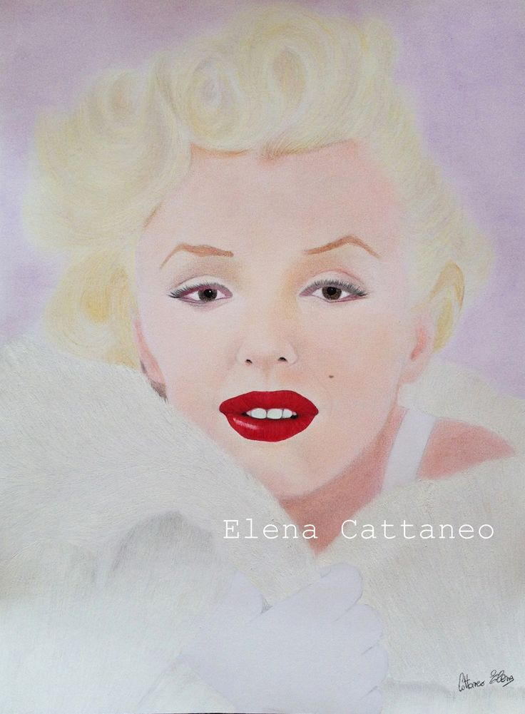 Marilyn, disegno realizzato su richiesta con carboncini colorati, pastelli, pennarello, biro a gel e tempera bianca. (38 x 40)