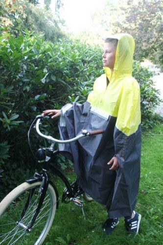 Fahrrad-Regencape-Regenjacke-Gelb-Unisex-NEU