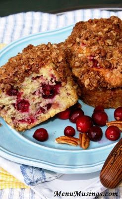 Cranberry Orange Muffins with Brown Sugar Pecan Crumble Topping.  Make someone's morning great!!  Step-by-step photo directions.