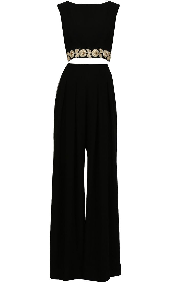 Black floral zardozi embroidered crop top and palazzo pants set available only at Pernia's Pop Up Shop.