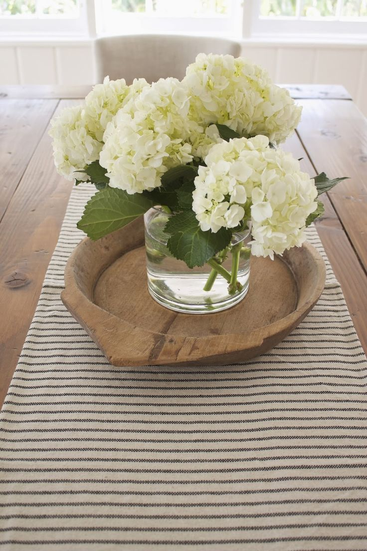 Hydrangea On Farmhouse Table Dining Room DecorDining CenterpiecesHydrangea CenterpiecesWood TableCenterpiece