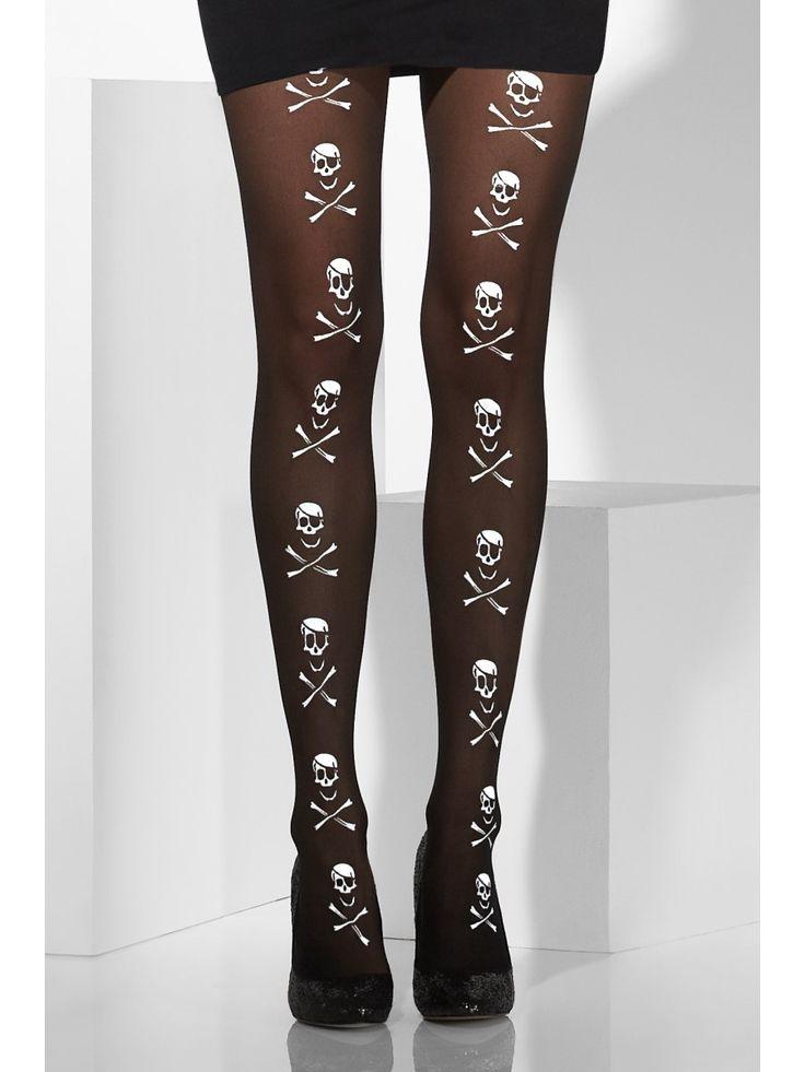 Sukkahousut pääkallokuvioin.Sukkahousujen kuviointi on myös perinteinen merirosvolipun tunnus, joten nämä sukkahousut kelpaavat mainiosti myös piraattinaisen sääriä verhoamaan.